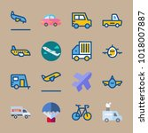 icons transport with aircraft ... | Shutterstock .eps vector #1018007887