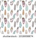 hand drawn seamless pattern... | Shutterstock .eps vector #1018008874