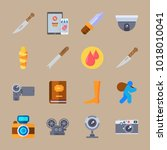 icons crime investigation with... | Shutterstock .eps vector #1018010041