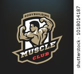 muscle club. bodybuilding... | Shutterstock .eps vector #1018014187