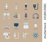 icons connectors cables with... | Shutterstock .eps vector #1018015081