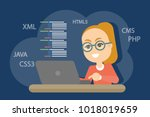 woman programmer working with...   Shutterstock .eps vector #1018019659