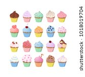 sweet cupcakes set with... | Shutterstock .eps vector #1018019704