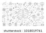 creativity and analytics. line... | Shutterstock .eps vector #1018019761