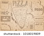 pizzeria placemat   paper... | Shutterstock .eps vector #1018019809