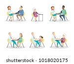 blood pressure measurement set. ... | Shutterstock .eps vector #1018020175