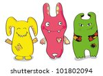 three happy colored monsters | Shutterstock .eps vector #101802094