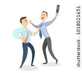 isolated drunk men fighting on...   Shutterstock .eps vector #1018021651