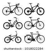 silhouettes of bicycles set | Shutterstock .eps vector #1018022284