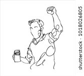 happy man holding glass of beer   Shutterstock .eps vector #1018026805