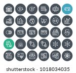 thin line cryptocurrency icons... | Shutterstock .eps vector #1018034035