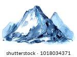 watercolor mountains. hand... | Shutterstock . vector #1018034371