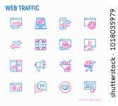 web traffic thin line icons set ... | Shutterstock .eps vector #1018035979