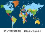 color world map vector | Shutterstock .eps vector #1018041187