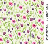 seamless watercolor floral... | Shutterstock . vector #1018044211