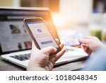online shopping concept  young...   Shutterstock . vector #1018048345