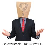businessman with a package on... | Shutterstock . vector #1018049911