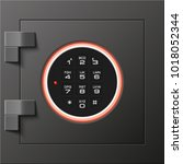 black steel safe door. armored... | Shutterstock .eps vector #1018052344