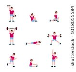 man doing a series of exercises.... | Shutterstock .eps vector #1018055584