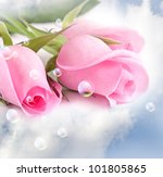 three pink roses in the clouds | Shutterstock . vector #101805865