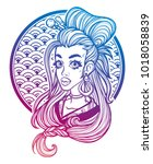 portrait of a girl in asian... | Shutterstock .eps vector #1018058839