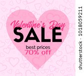 valentines day sale card... | Shutterstock . vector #1018059211