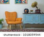 vintage interior of retro... | Shutterstock . vector #1018059544
