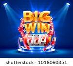 big win slots 777 banner casino.... | Shutterstock .eps vector #1018060351