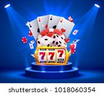 casino dice banner signboard on ... | Shutterstock .eps vector #1018060354
