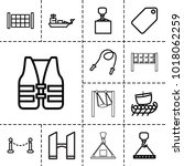 rope icons. set of 13 editable... | Shutterstock .eps vector #1018062259