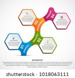 hexagon options infographics... | Shutterstock .eps vector #1018063111
