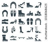 shoe icons. set of 25 editable... | Shutterstock .eps vector #1018068625