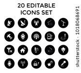 radio icons. set of 20 editable ... | Shutterstock .eps vector #1018068691