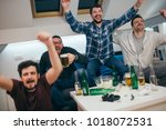 group of friends watching sport ... | Shutterstock . vector #1018072531