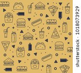 fast food pattern  vector... | Shutterstock .eps vector #1018073929