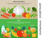 two healthy eating flat... | Shutterstock .eps vector #1018074439