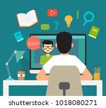 online education  distance... | Shutterstock .eps vector #1018080271