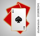 one spades ace in four playing... | Shutterstock .eps vector #1018082341