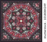 vector ornament paisley bandana ... | Shutterstock .eps vector #1018084249