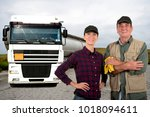 father and daughter truck... | Shutterstock . vector #1018094611