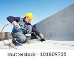 roofer installing roofing felt... | Shutterstock . vector #101809735