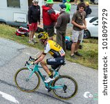 Small photo of Col du Glandon, France - July 24, 2015: The Dutch cyclist, Bram Tankink of Team LottoNL-Jumbo,climbing the road to Col du Glandon in Alps, during the stage 19 of Le Tour de France 2015.
