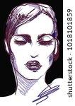 vogue graphic woman portrait... | Shutterstock . vector #1018101859