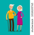 happy elderly people or retired.... | Shutterstock .eps vector #1018105765