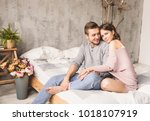 loving couple. handsome young... | Shutterstock . vector #1018107919