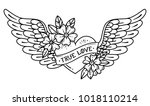 hand drawn tattoo flying heart... | Shutterstock .eps vector #1018110214