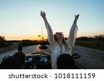 excited and happy young female... | Shutterstock . vector #1018111159