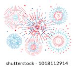 festive colored fireworks. flat ...   Shutterstock .eps vector #1018112914