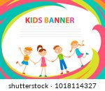 happy children run on the... | Shutterstock .eps vector #1018114327