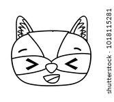 line glad raccoon head wild... | Shutterstock .eps vector #1018115281